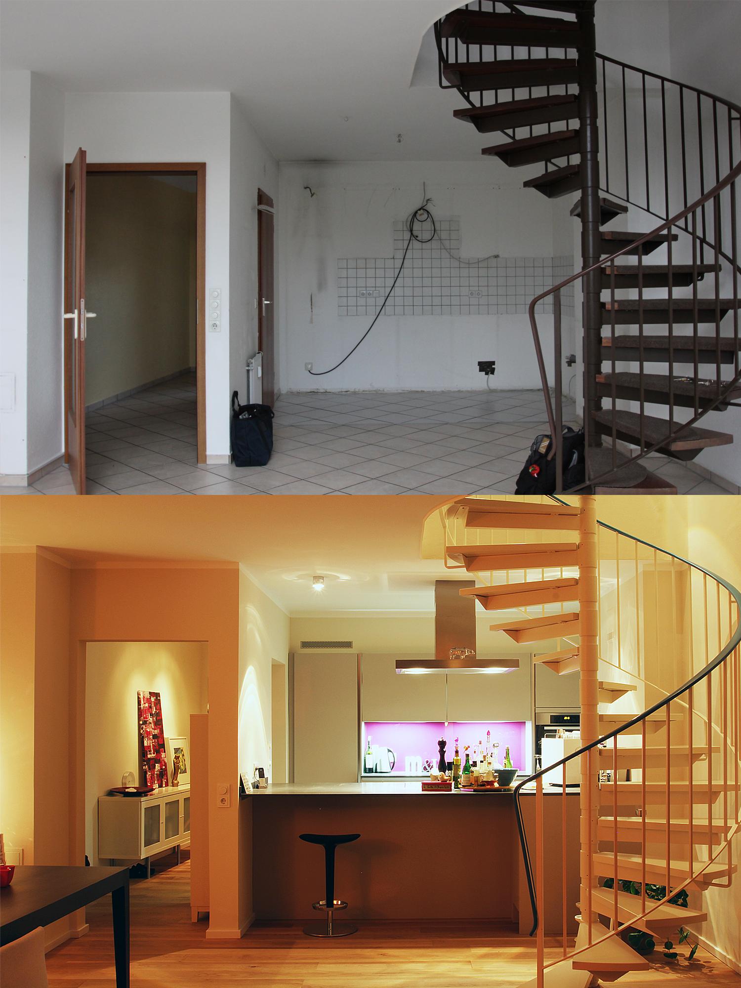 Die Küche vor und nach dem Umbau geplant von Wohnwert Innenarchitektur