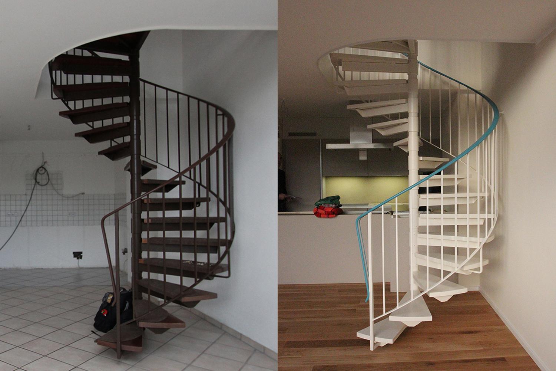 Farbliche Neufassung einer alten Wendeltreppe nach dem Konzept von Wohnwert Innenarchitektur