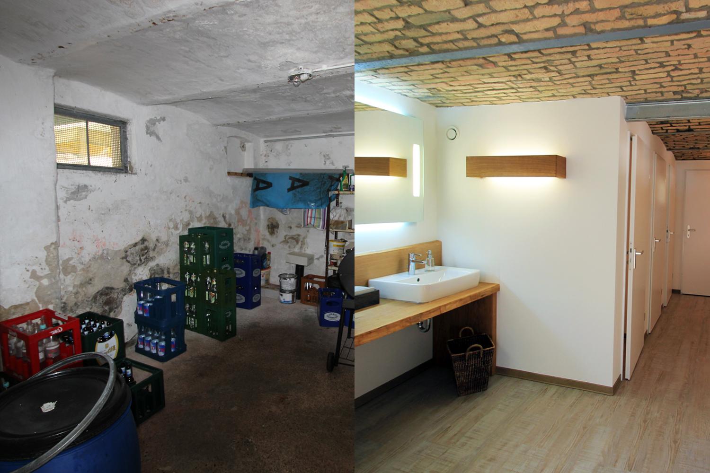 Umbau des Stallgebäudes zur Damentoilette vor und nach der Sanierung durch Wohnwert