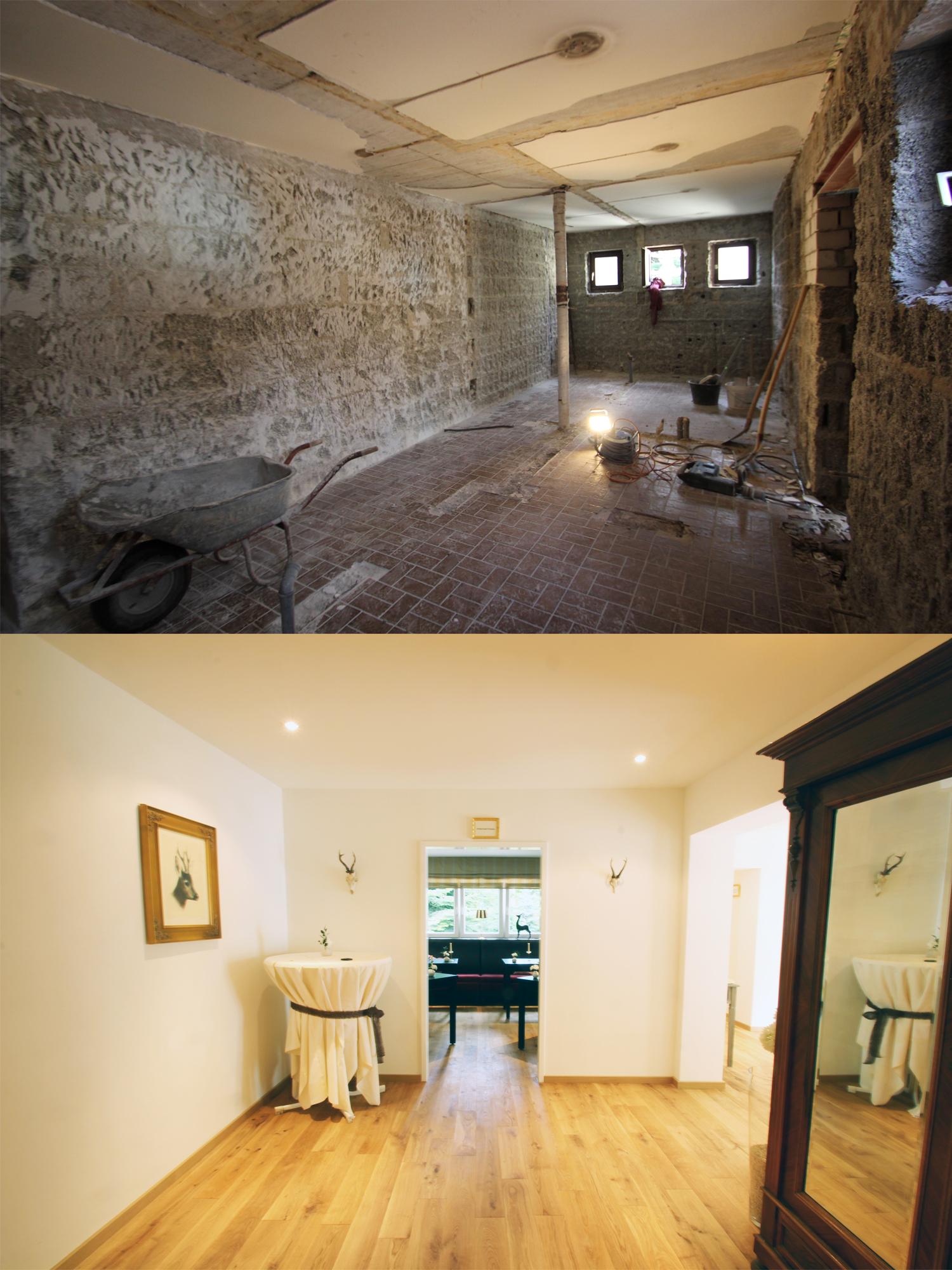 Umbau Toilettenbereich in Gastraum im Forsthaus Rheinblick durchgeführt von Wohnwert Innenarchitektur