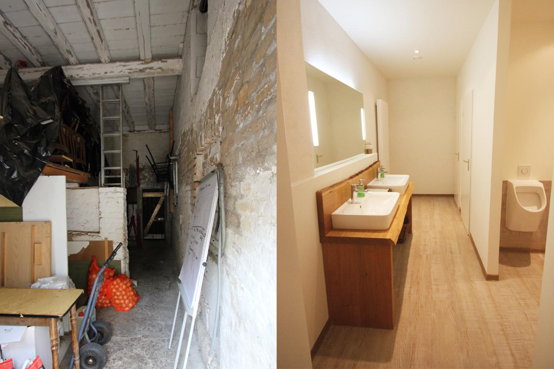 Denkmalpflege und Umbau eines Stallgebäudes zur barrierefreien Herrentoilette durch Wohnwert vorher und nachher