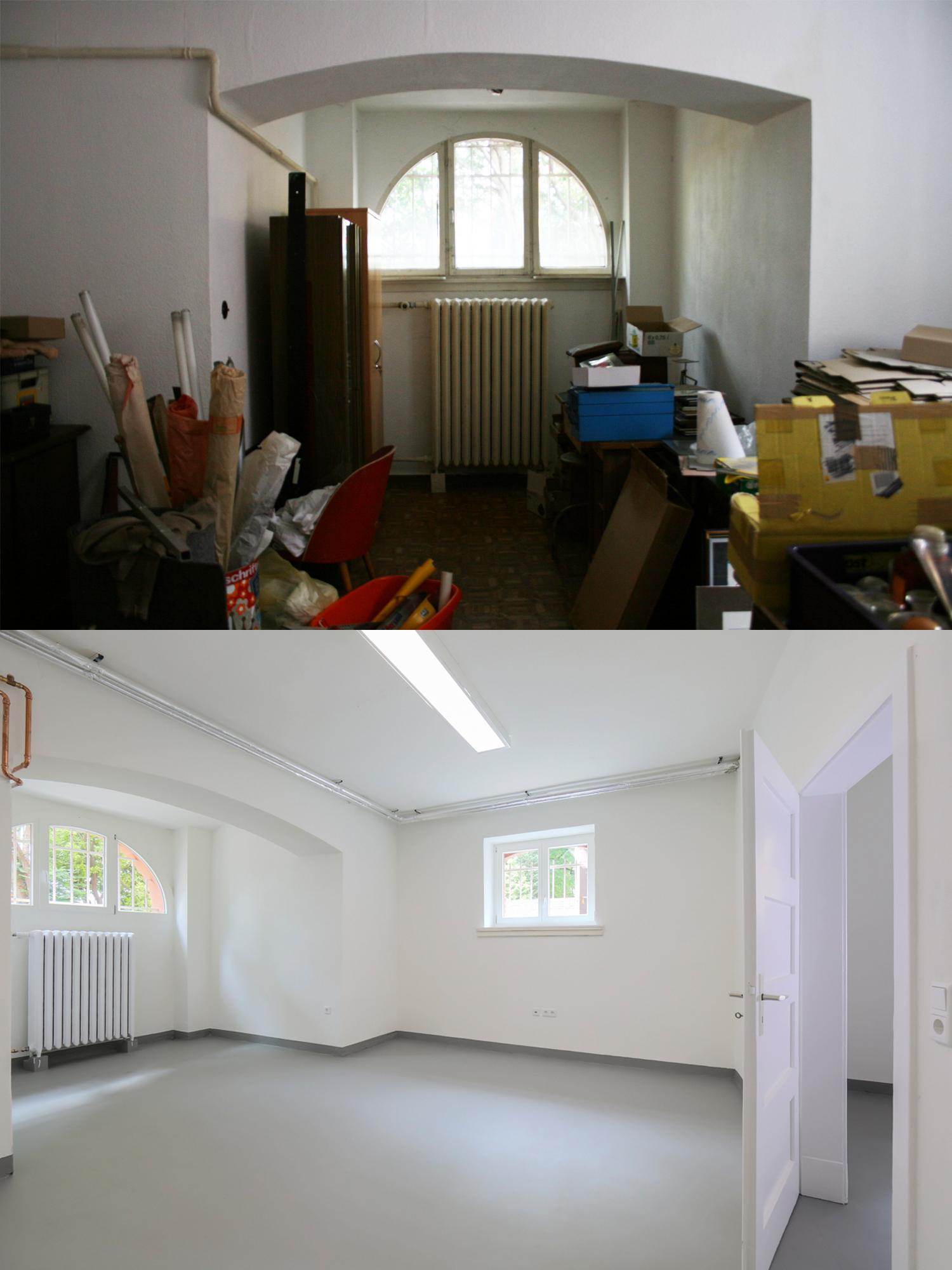 Das Souterrain der Villa Viktoria vor und nach der Sanierung durch Wohnwert