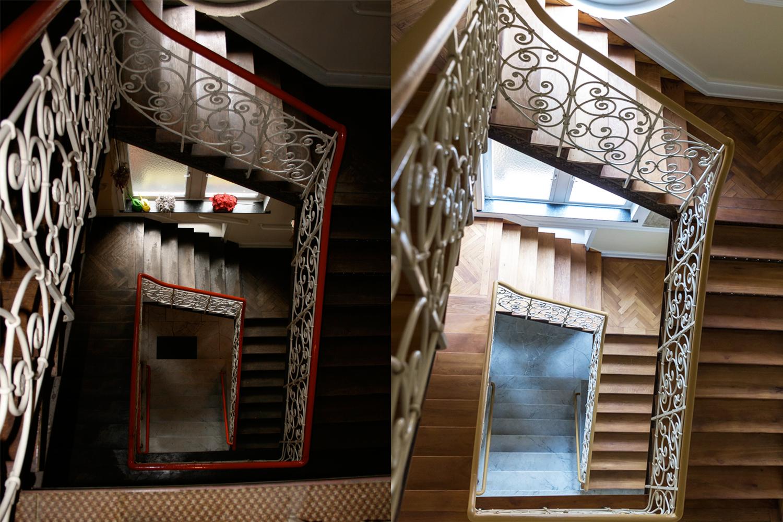 Treppenhaus der Villa Viktoria vor und nach der Sanierung durch Wohnwert Innenarchitektur