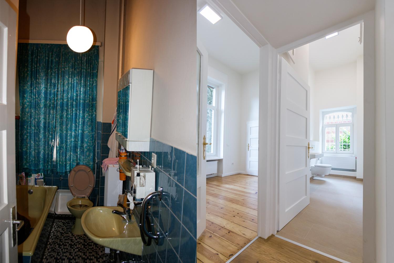 Bäder der Villa Viktoria vor und nach der Sanierung durch Wohnwert Innenarchitektur