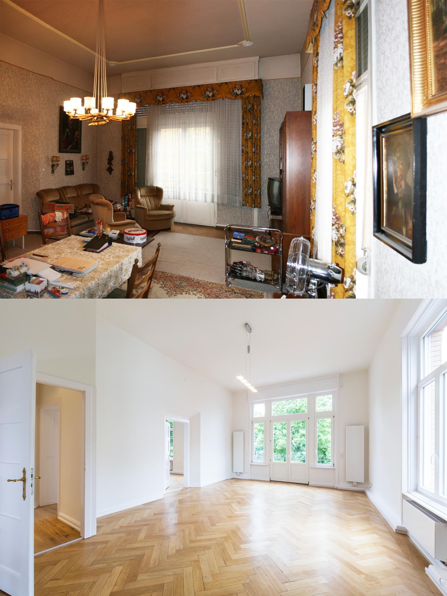Ein Wohnraum der Villa Viktoria vor und nach der Sanierung durch Wohnwert Innenarchitektur