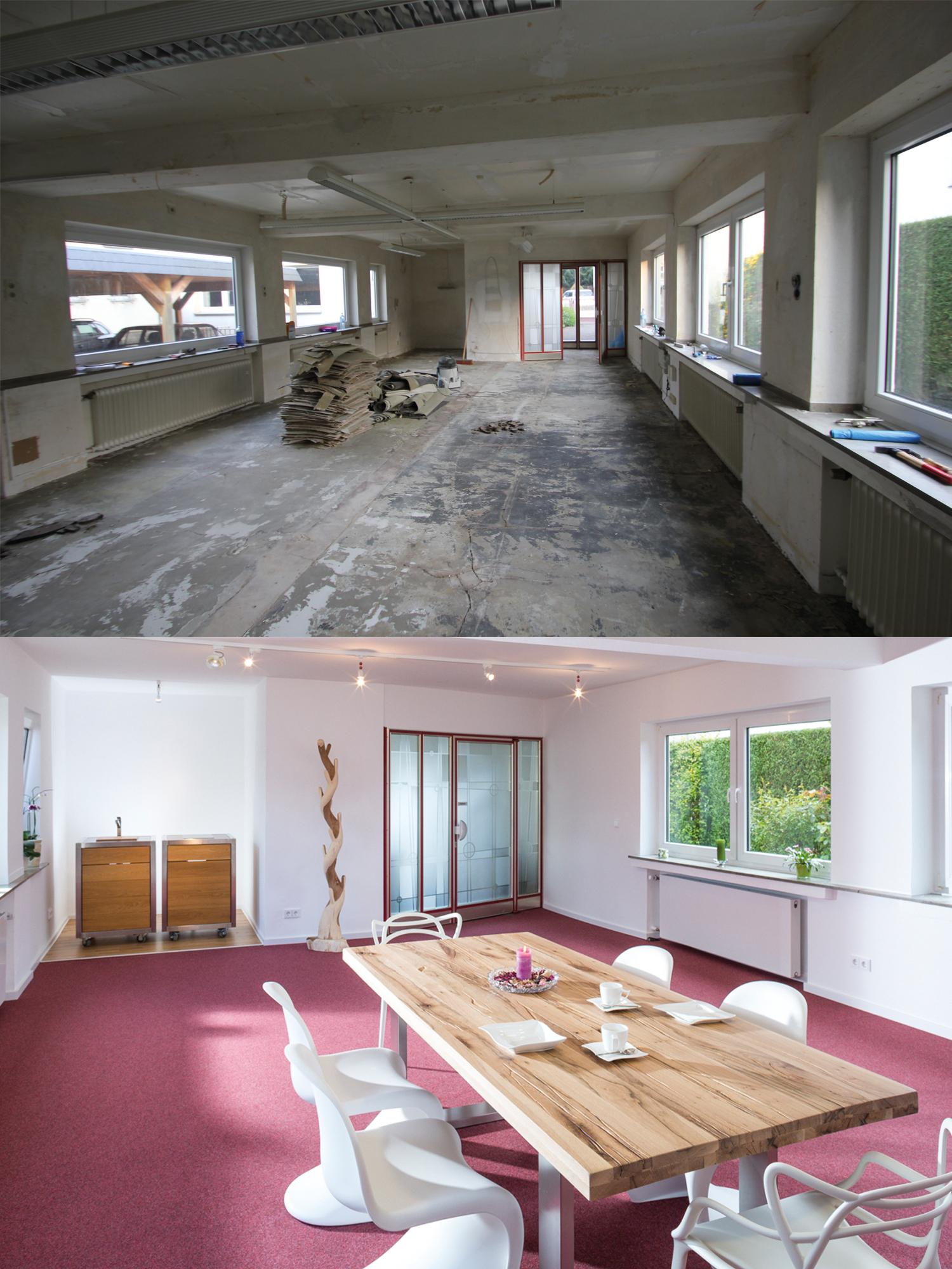 Der umgebaute Showroom von Wohnwert Innenarchitektur vorher nacher