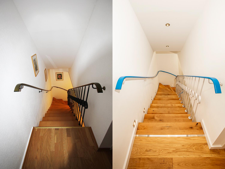 Treppe Reihenhaus vorher und nacher